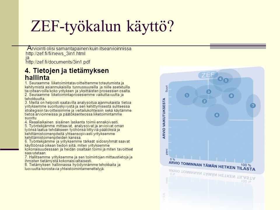 10 ZEF-työkalun käyttö. 4. Tietojen ja tietämyksen hallinta 1.