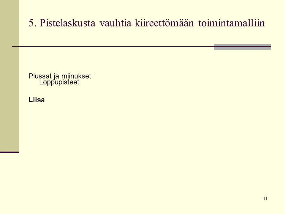 11 5. Pistelaskusta vauhtia kiireettömään toimintamalliin Plussat ja miinukset Loppupisteet Liisa