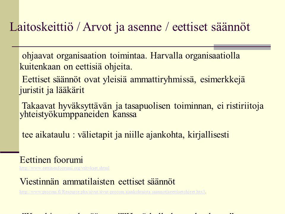 Laitoskeittiö / Arvot ja asenne / eettiset säännöt ohjaavat organisaation toimintaa.