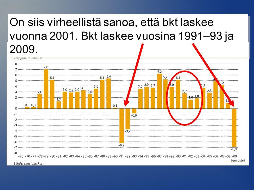 On siis virheellistä sanoa, että bkt laskee vuonna 2001. Bkt laskee vuosina 1991–93 ja 2009.