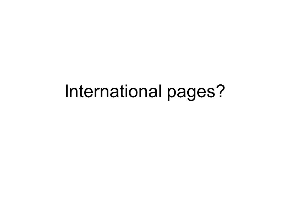 International pages