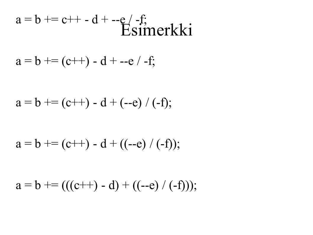 14 Esimerkki a   b +  c++ - d + --e   -f  a   b +  (c++) - d + --e   -f  a    b +  (c++) - d + (--e)   (-f)  a   b +  (c++) - d + ((--e)   (-f))  a   b  +  ... a4a119b261