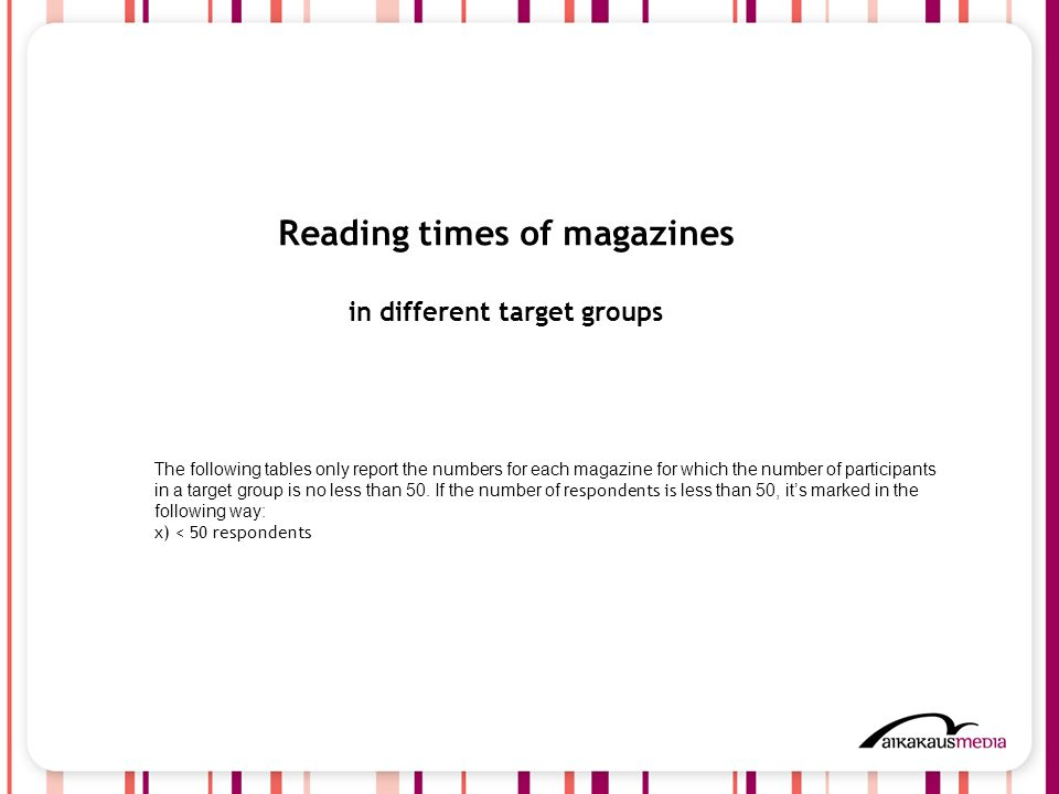 4 Reading times of magazines in different target groups The following tables only report the numbers for each magazine for which the number of participants in a target group is no less than 50.